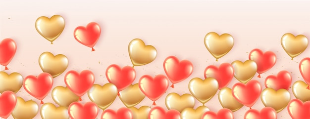 Heart shaped horizontal banner with gold and pink balloons.