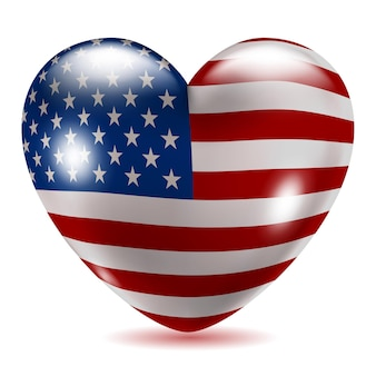 Heart shaped icon with flag of usa on white background with shadow