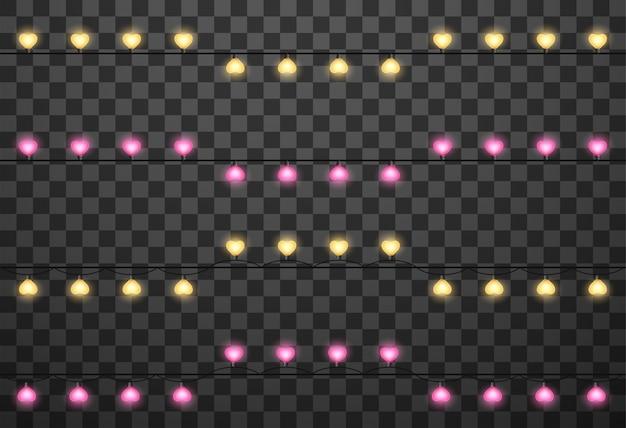Heart-shaped lightbulbs on garlands