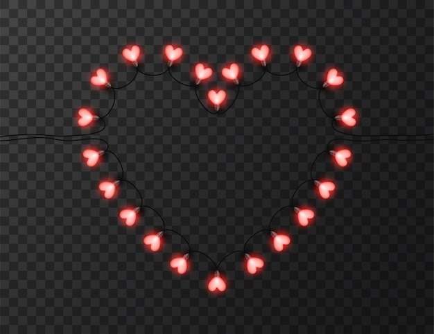 Heart shaped lights isolated on transparent