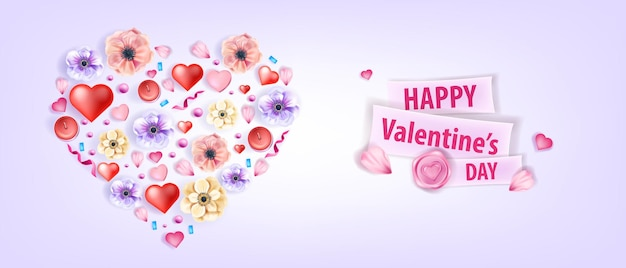 アネモネ、花、花びら、紙吹雪とハート型の愛バレンタインデーベクトル背景。休日のロマンチックな挨拶花のポストカードまたは販売プロモーションバナー。バレンタインデーの花の春の背景