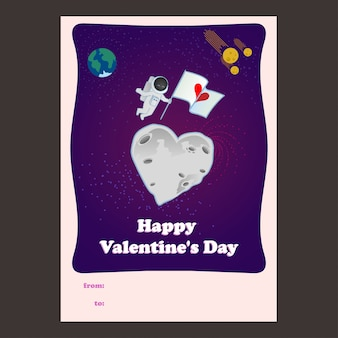 Heart-shaped moon and astronaut valentine card