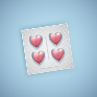 심장 모양의 알약, 심장 관리, 의료 용품, 현실