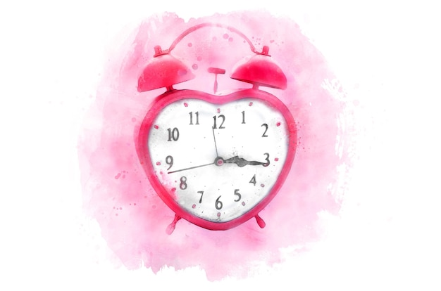 Heart shaped pink clock. watercolor, isolated on a white background.