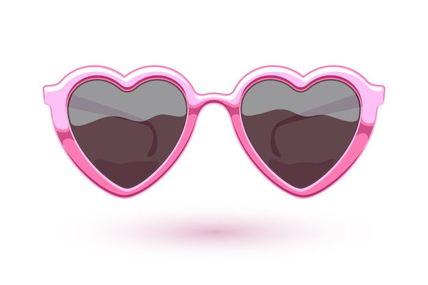 Heart shaped pink metallic sunglasses illustration. eye wear logo . love symbol.