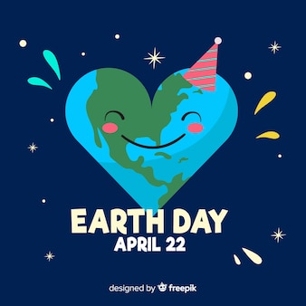 Heart-shaped planet mother earth day background