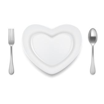 Heart shaped plate spoon fork vector illustration