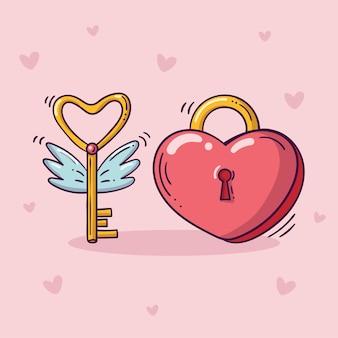 낙서 스타일의 날개를 가진 황금 열쇠를 날리는 심장 모양의 빨간색 자물쇠