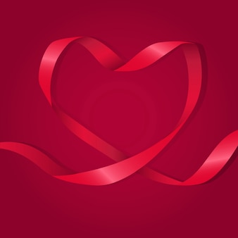 Heart Shaped Red Ribbon Illustration