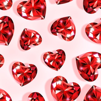 Heart shaped seamless pattern with red rubies.