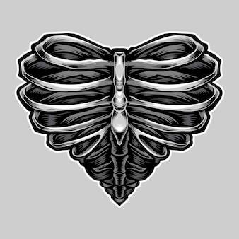 ハート型のスケルトンイラスト