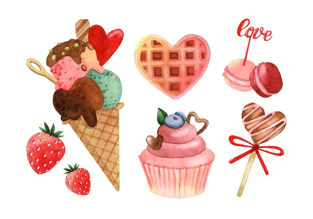 Heart shaped sweets watercolor elements isolated set