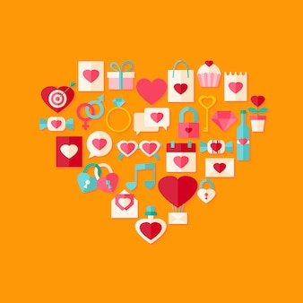 Набор иконок плоский стиль день святого валентина в форме сердца с тенью. плоский стилизованный объект с тенью
