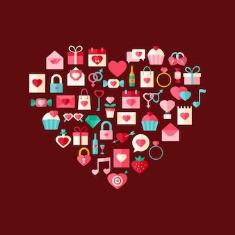 День святого валентина в форме сердца иконки плоский стиль. набор плоских стилизованных объектов
