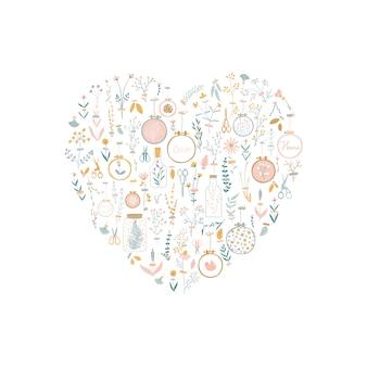 Векторный набор в форме сердца с украшениями домашней уютной стены с цветами, наклеенными скотчем.