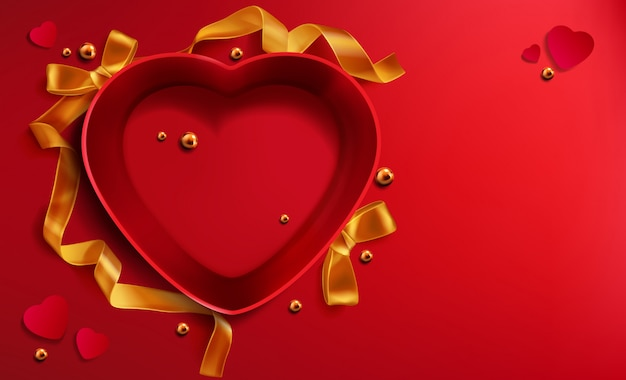 Heart shapedred open gift box, golden ribbon pearl