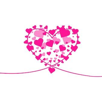 심장 모양 배경 심장 색종이 버스트 절연 발렌타인 개념 벡터 축제 일러스트레이션