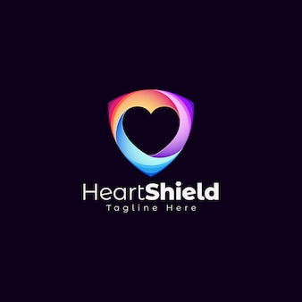Heart shield logo template
