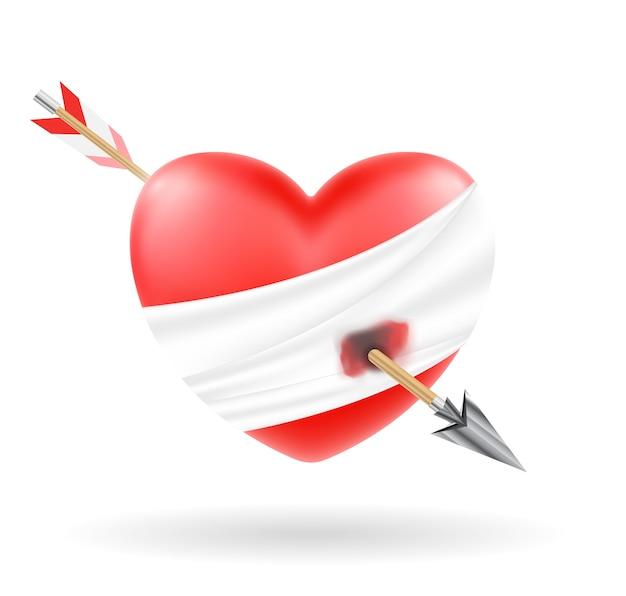 Heart shooted by a bow arrow vector