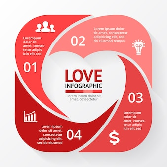 Heart sign infographic template medical healthcare symbol valentines day card