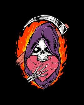불을 가진 심장 해골 사신