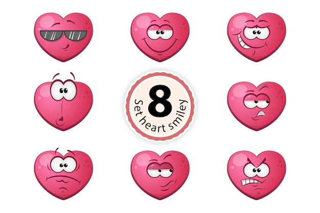 Heart smiley satisfaction, self-confidence, surpride, grin, oh, suspiction, glasses, anger.