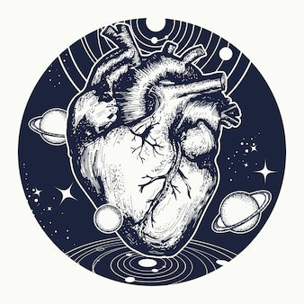 Heart in space tattoo