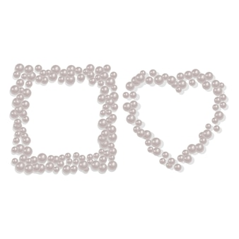 Heart and square shaped frame from a scattering of pearls
