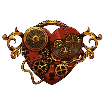 Heart steampunk illustration Premium Vector