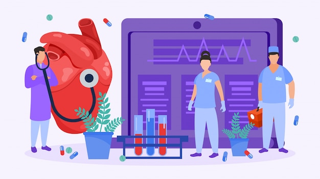 Heart surgery, cardiologists people check heart for medical operation illustration.