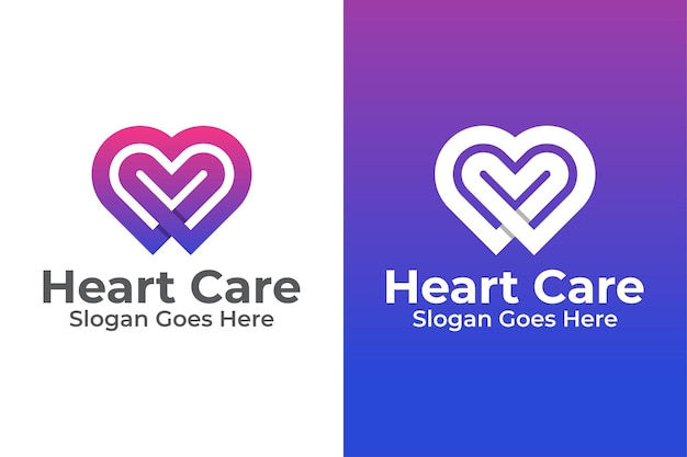 Heart symbol and care with love logo