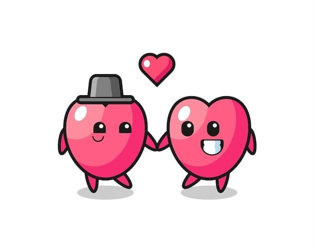 恋に落ちるジェスチャー、tシャツ、ステッカー、ロゴ要素のかわいいスタイルのデザインとハートのシンボル漫画のキャラクターのカップル