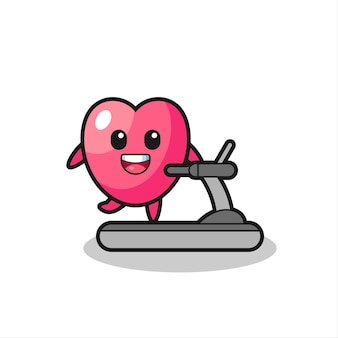 Heart symbol cartoon character walking on the treadmill , cute style design for t shirt, sticker, logo element