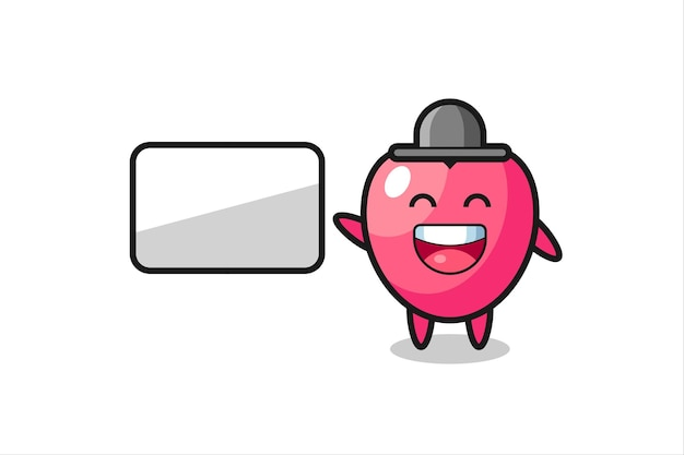 Heart symbol cartoon illustration doing a presentation , cute style design for t shirt, sticker, logo element