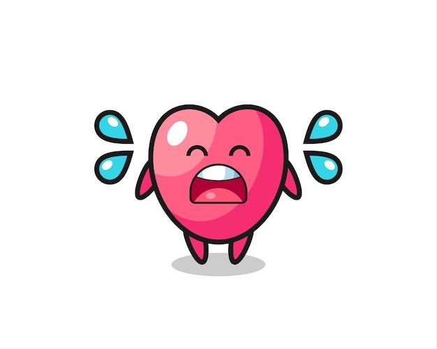우는 제스처와 함께 심장 기호 만화 그림, 티셔츠, 스티커, 로고 요소에 대한 귀여운 스타일 디자인