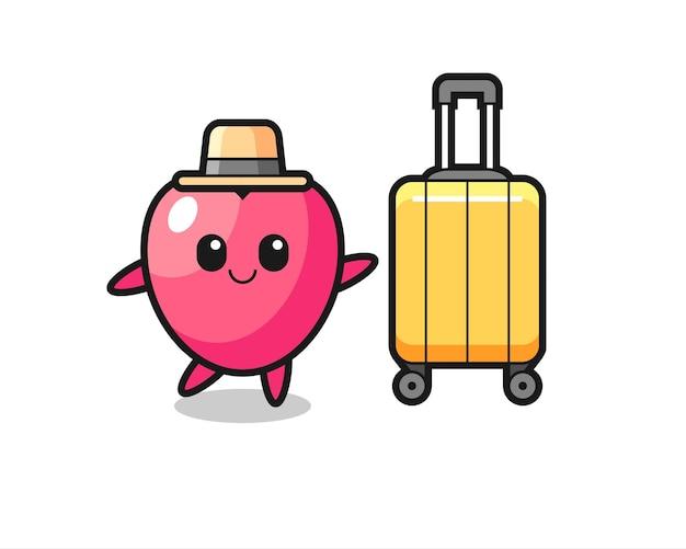Иллюстрация шаржа символа сердца с багажом в отпуске, милый стиль дизайна для футболки, стикер, элемент логотипа