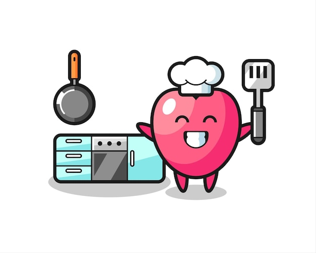 Heart symbol character illustration as a chef is cooking , cute style design for t shirt, sticker, logo element