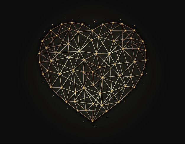 Heart symbol golden on dark background