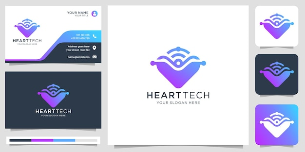 Heart symbol logo with technology concept creative logo love and tech modern design with business card template premium vector