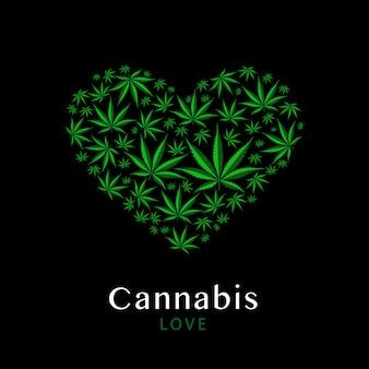Heart symbol made from green leaves of marijuana