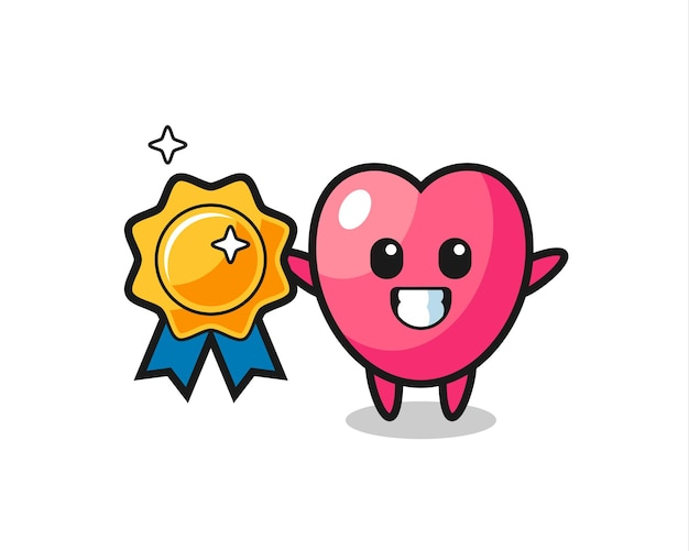 Heart symbol mascot illustration holding a golden badge , cute style design for t shirt, sticker, logo element
