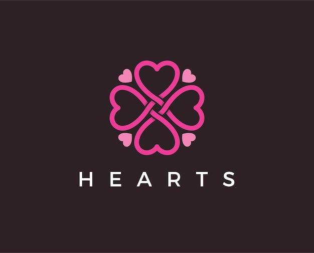 Heart symbol. valentines day ribbon logotype. abstract line medical health logo icon design.