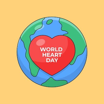 Heart symbol with earth background for world heart day poster celebration outline illustration
