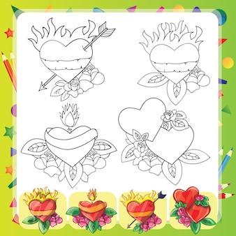 Heart tattoo design - flash set -  coloring book