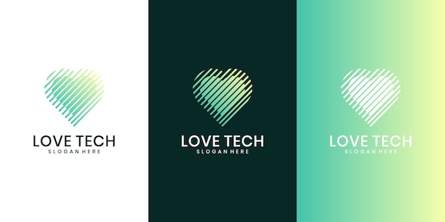 Heart tech logo concept