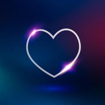 그라데이션 배경에 보라색 네온 심장 기술 벡터