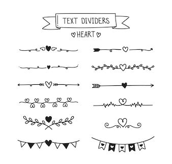 Heart text divider set.