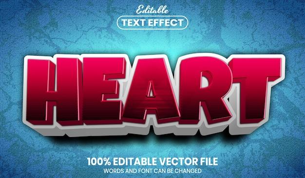 Heart text, font style editable text effect
