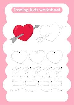 子供のためのハートトレースラインの書き込みと描画の練習ワークシート