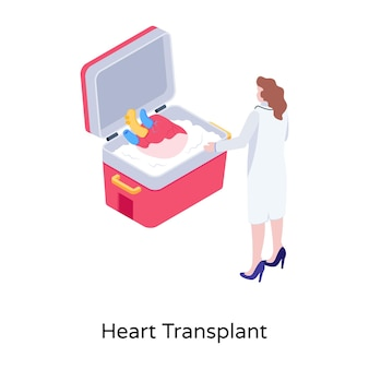 Heart transplant illustration isometric vector download